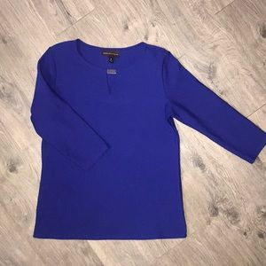 Dana Buchanan Royal Blue 3/4 Sleeve Textured Shirt